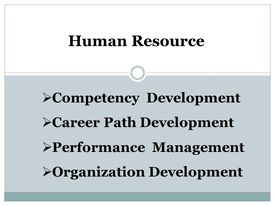 Human Resource Competency Development Career Path Development