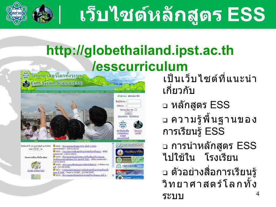 เว็บไซต์หลักสูตร ESS http://globethailand.ipst.ac.th/esscurriculum