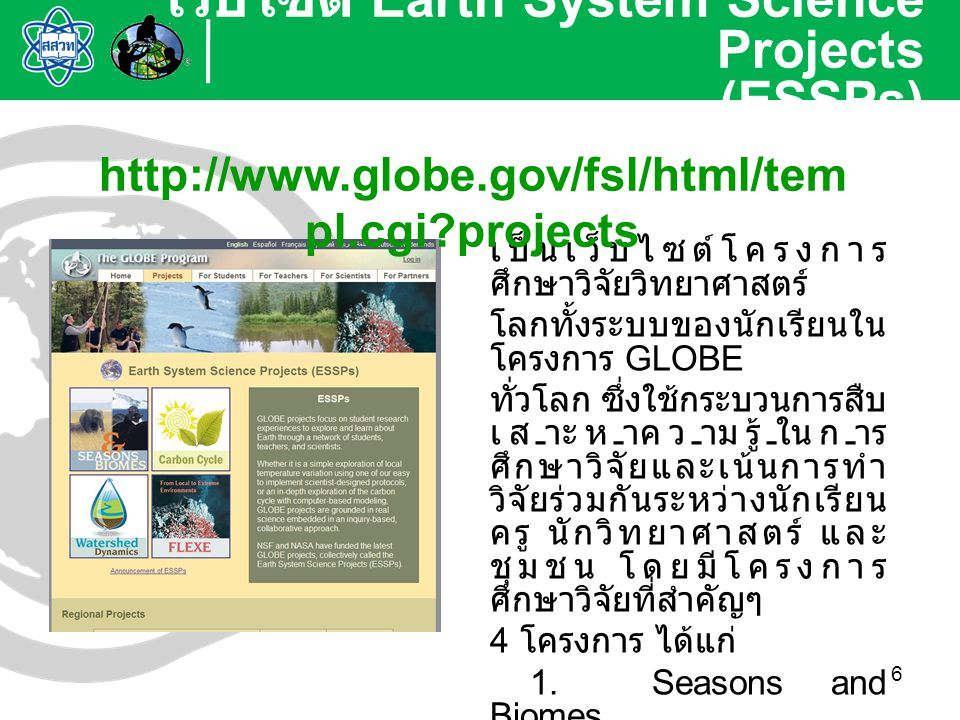 เว็บไซต์ Earth System Science Projects (ESSPs)