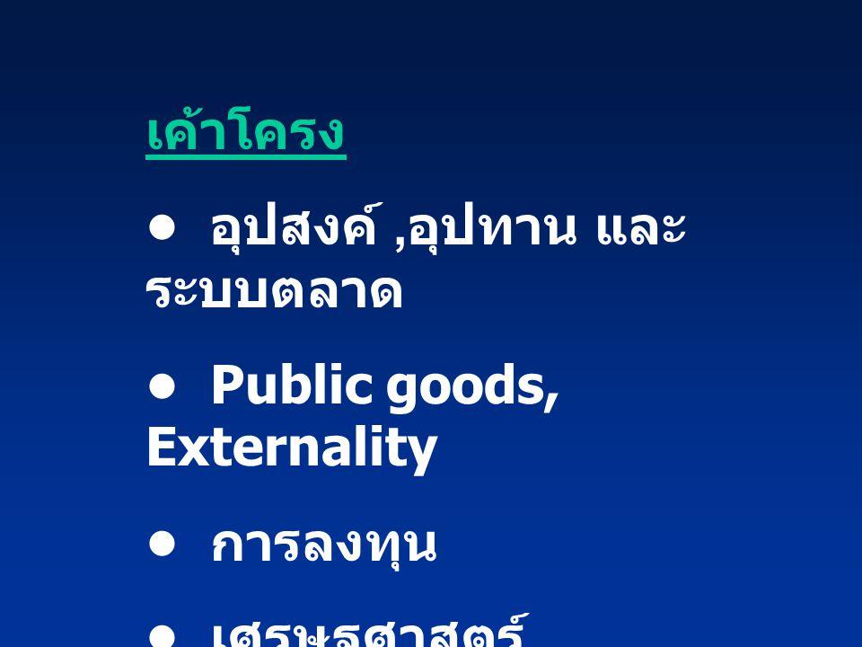 เค้าโครง • อุปสงค์ ,อุปทาน และระบบตลาด. • Public goods, Externality.