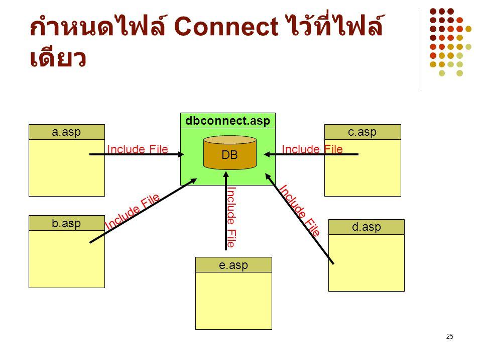 กำหนดไฟล์ Connect ไว้ที่ไฟล์เดียว