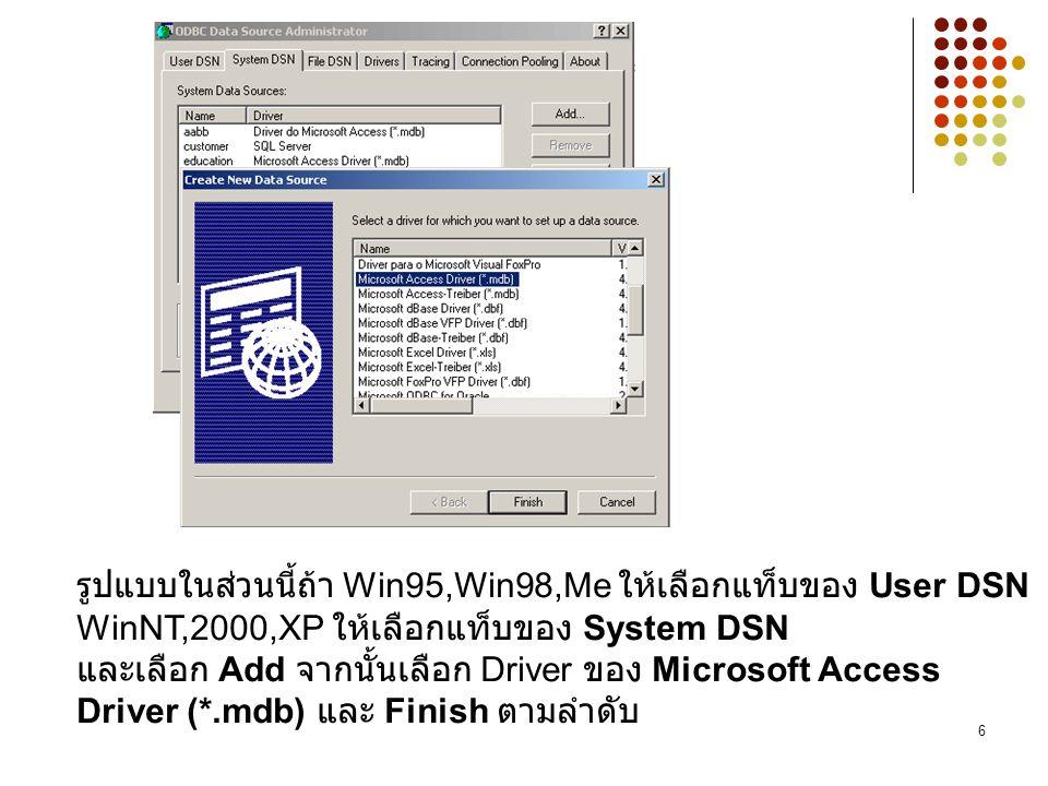รูปแบบในส่วนนี้ถ้า Win95,Win98,Me ให้เลือกแท็บของ User DSN