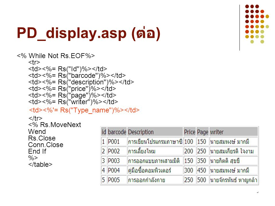 PD_display.asp (ต่อ)