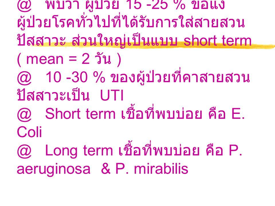 @ พบว่า ผู้ป่วย 15 -25 % ขอแงผู้ป่วยโรคทั่วไปที่ได้รับการใส่สายสวนปัสสาวะ ส่วนใหญ่เป็นแบบ short term ( mean = 2 วัน ) @ 10 -30 % ของผู้ป่วยที่คาสายสวนปัสสาวะเป็น UTI @ Short term เชื้อที่พบบ่อย คือ E.