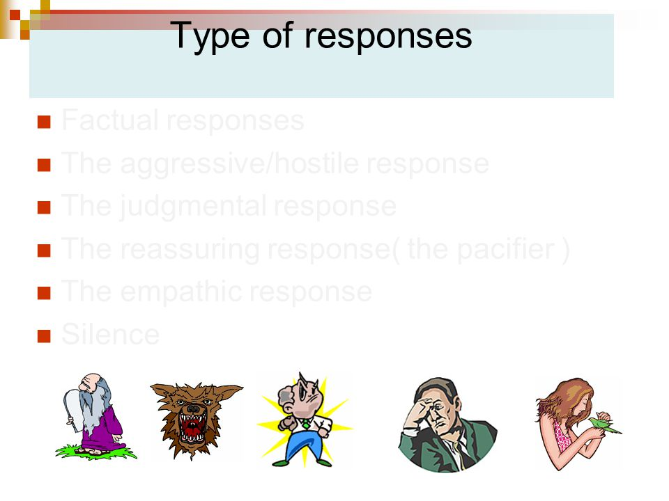 Type of responses Factual responses The aggressive/hostile response