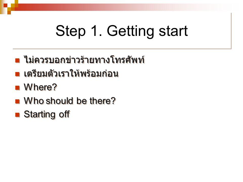 Step 1. Getting start ไม่ควรบอกข่าวร้ายทางโทรศัพท์
