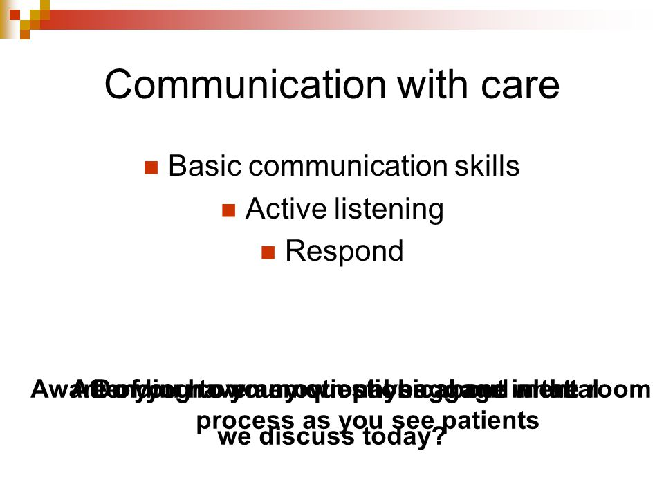 Communication with care