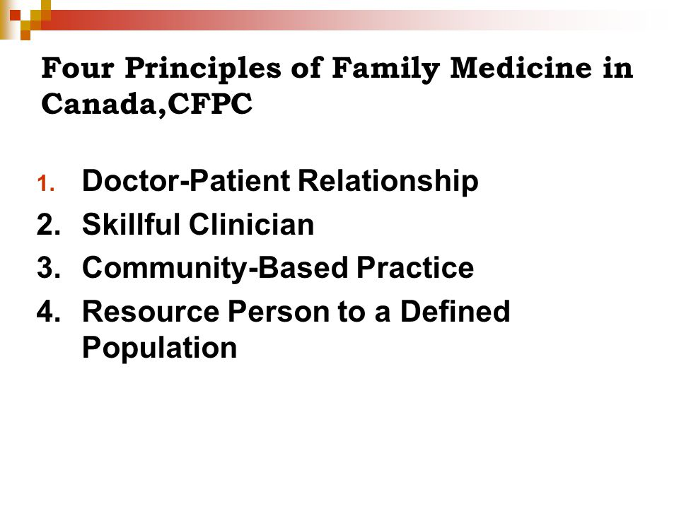 Four Principles of Family Medicine in Canada,CFPC