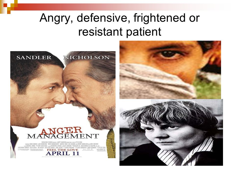Angry, defensive, frightened or resistant patient