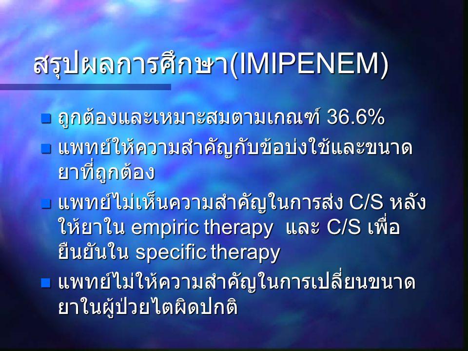 สรุปผลการศึกษา(IMIPENEM)