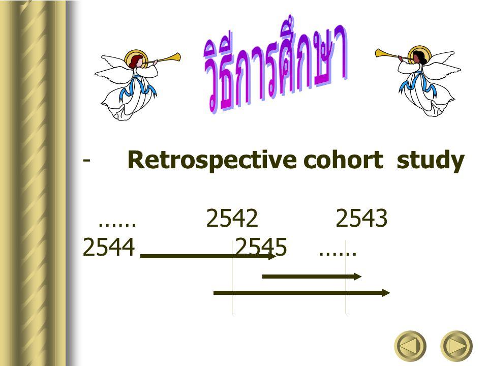 วิธีการศึกษา Retrospective cohort study.