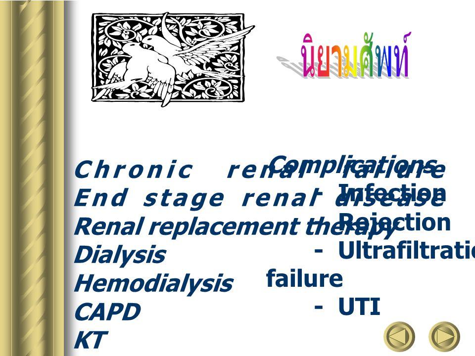 นิยามศัพท์ Complications Chronic renal failure - Infection
