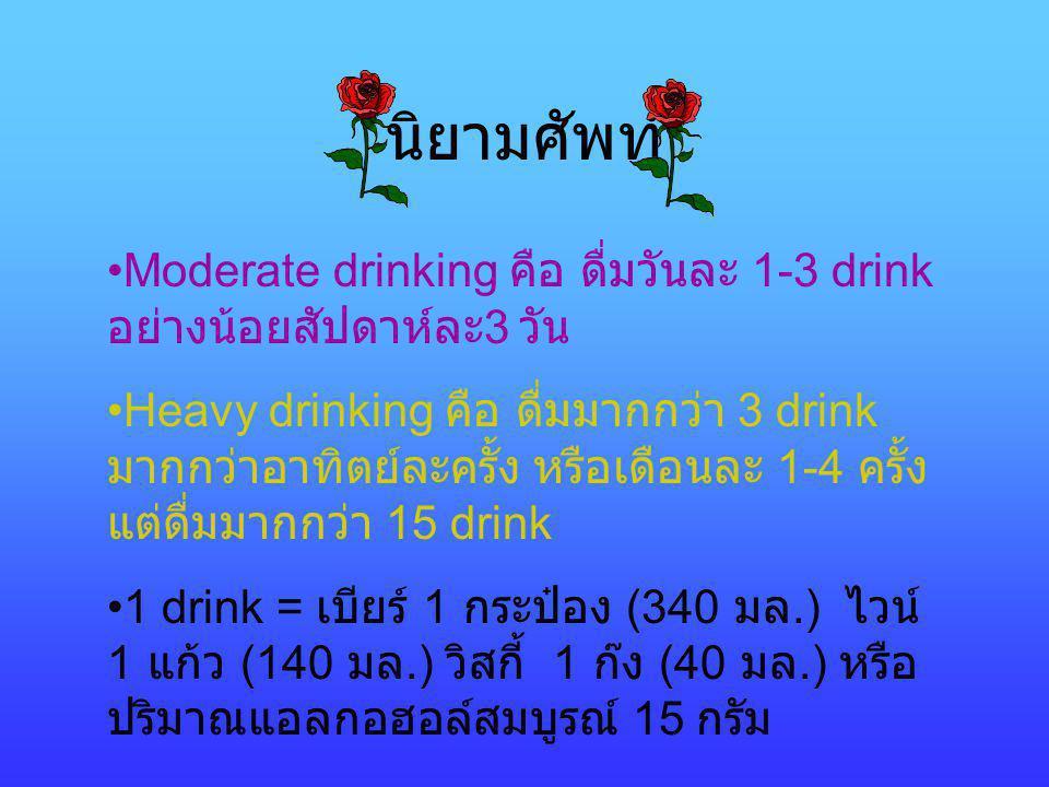 นิยามศัพท์ Moderate drinking คือ ดื่มวันละ 1-3 drink อย่างน้อยสัปดาห์ละ3 วัน.