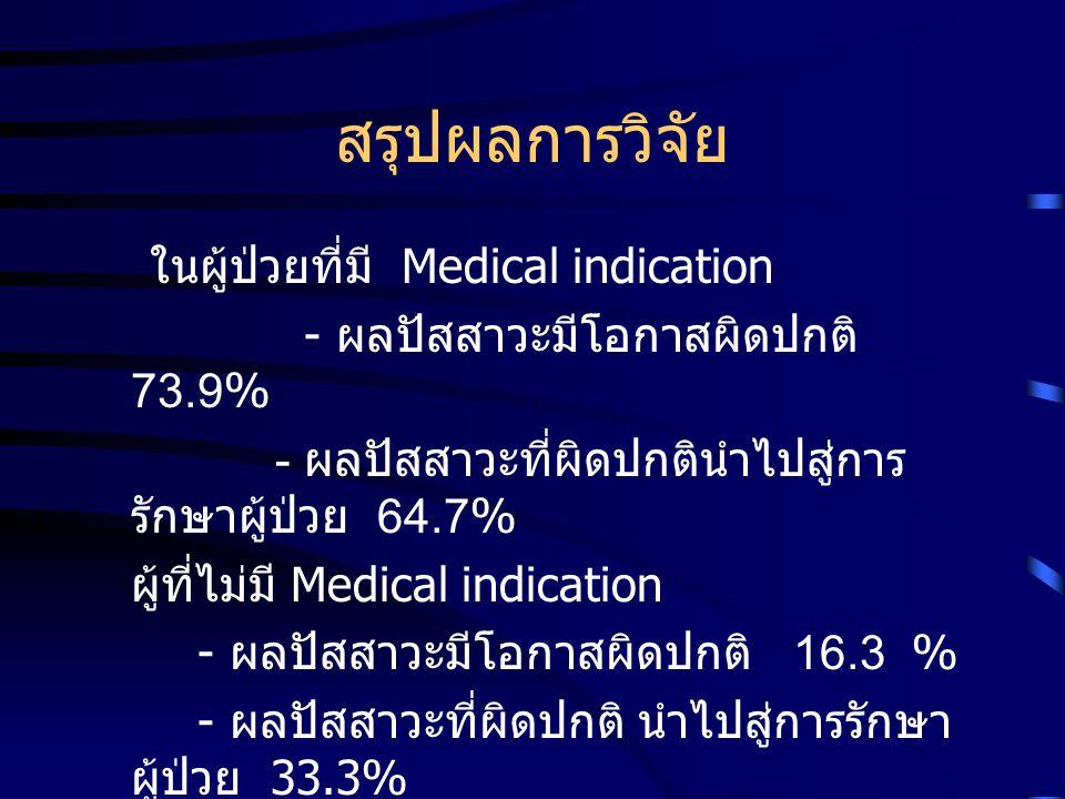สรุปผลการวิจัย ในผู้ป่วยที่มี Medical indication
