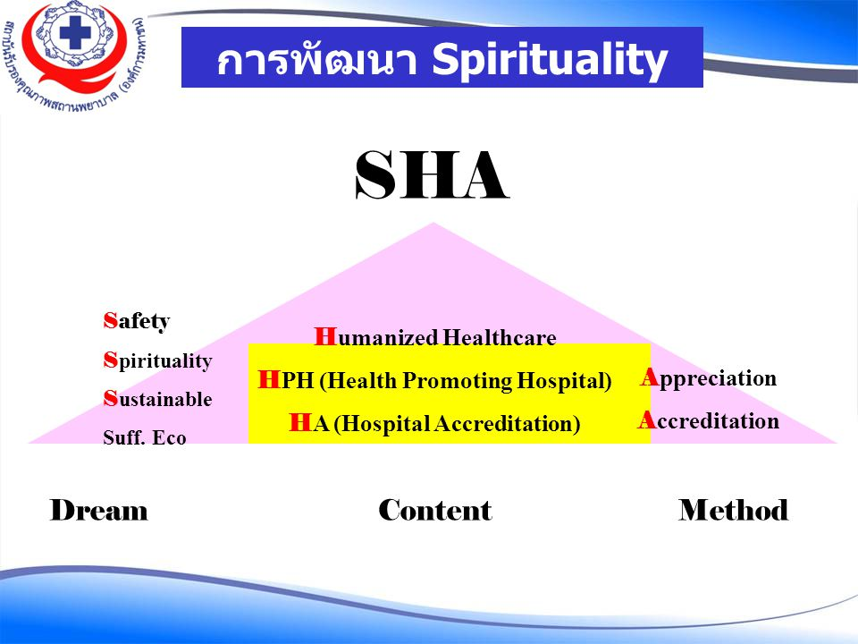 SHA การพัฒนา Spirituality in Healthcare Dream Content Method