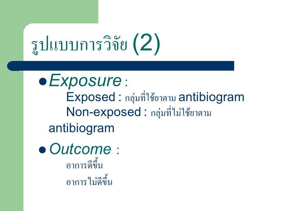 รูปแบบการวิจัย (2) Exposure : Exposed : กลุ่มที่ใช้ยาตาม antibiogram Non-exposed : กลุ่มที่ไม่ใช้ยาตาม antibiogram.
