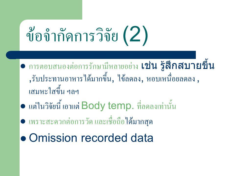 ข้อจำกัดการวิจัย (2) Omission recorded data