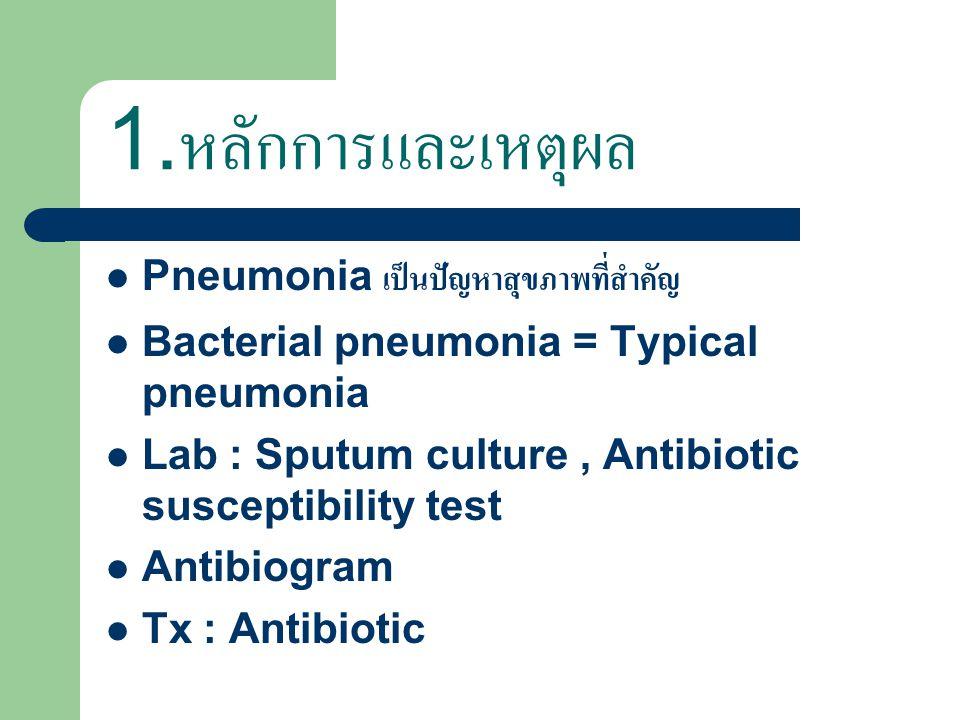 1.หลักการและเหตุผล Pneumonia เป็นปัญหาสุขภาพที่สำคัญ