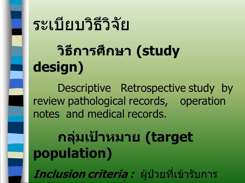 ระเบียบวิธีวิจัย กลุ่มเป้าหมาย (target population)