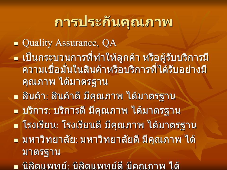 การประกันคุณภาพ Quality Assurance, QA