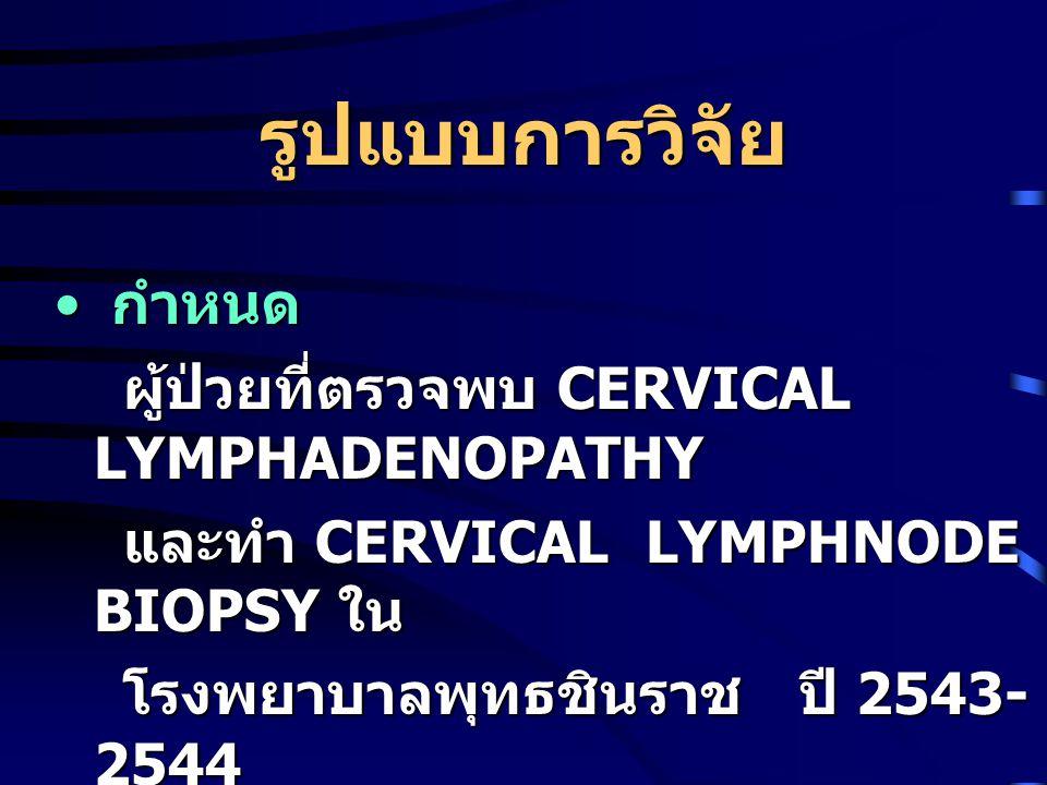 รูปแบบการวิจัย กำหนด ผู้ป่วยที่ตรวจพบ CERVICAL LYMPHADENOPATHY
