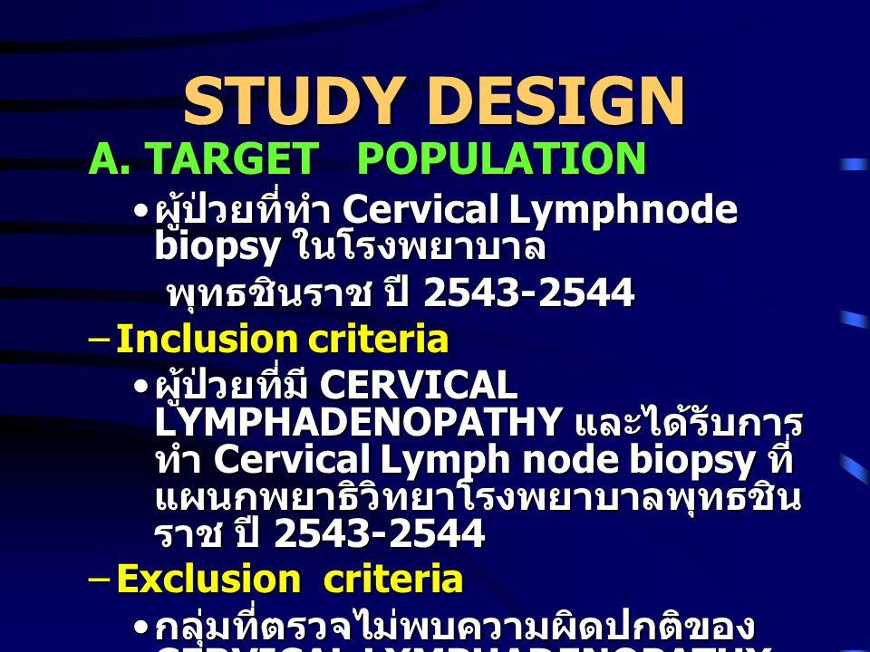 STUDY DESIGN A. TARGET POPULATION