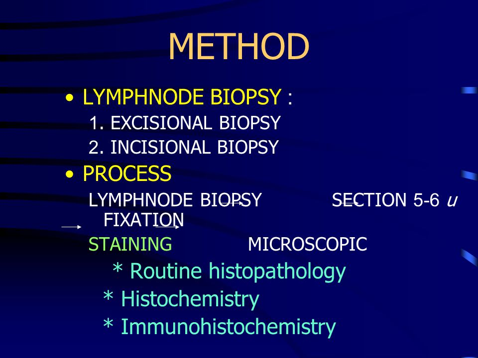 METHOD LYMPHNODE BIOPSY : PROCESS * Routine histopathology