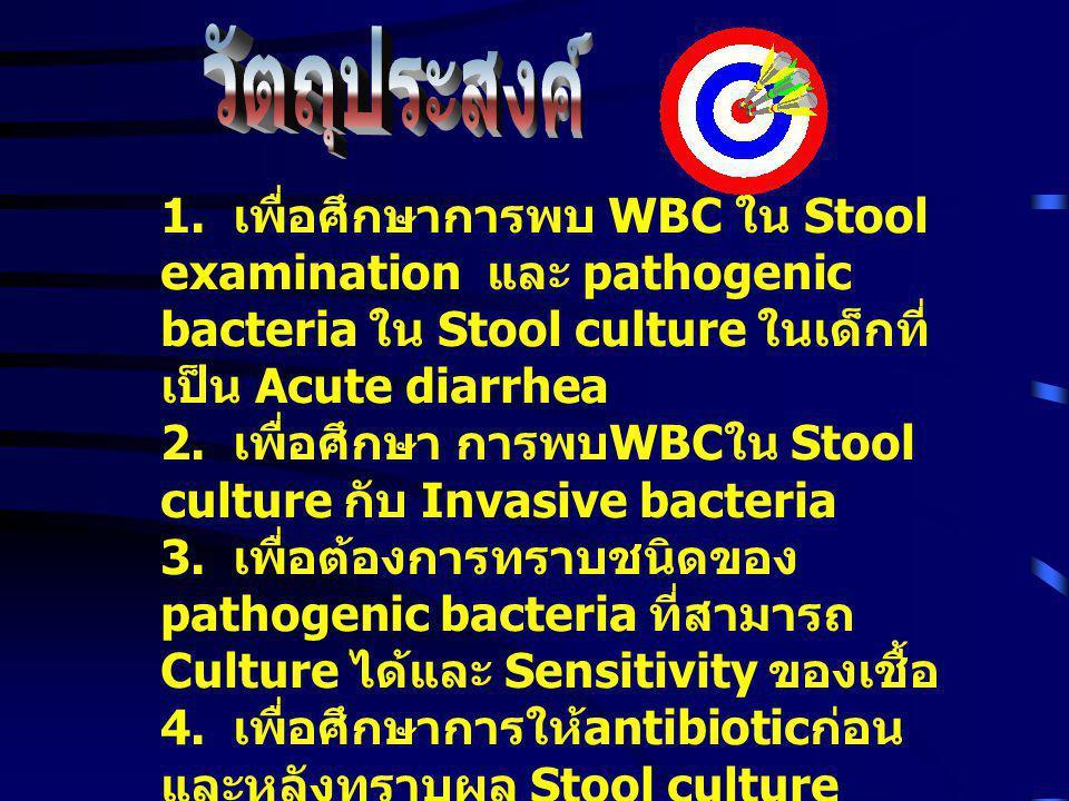 วัตถุประสงค์ 1. เพื่อศึกษาการพบ WBC ใน Stool examination และ pathogenic bacteria ใน Stool culture ในเด็กที่เป็น Acute diarrhea.