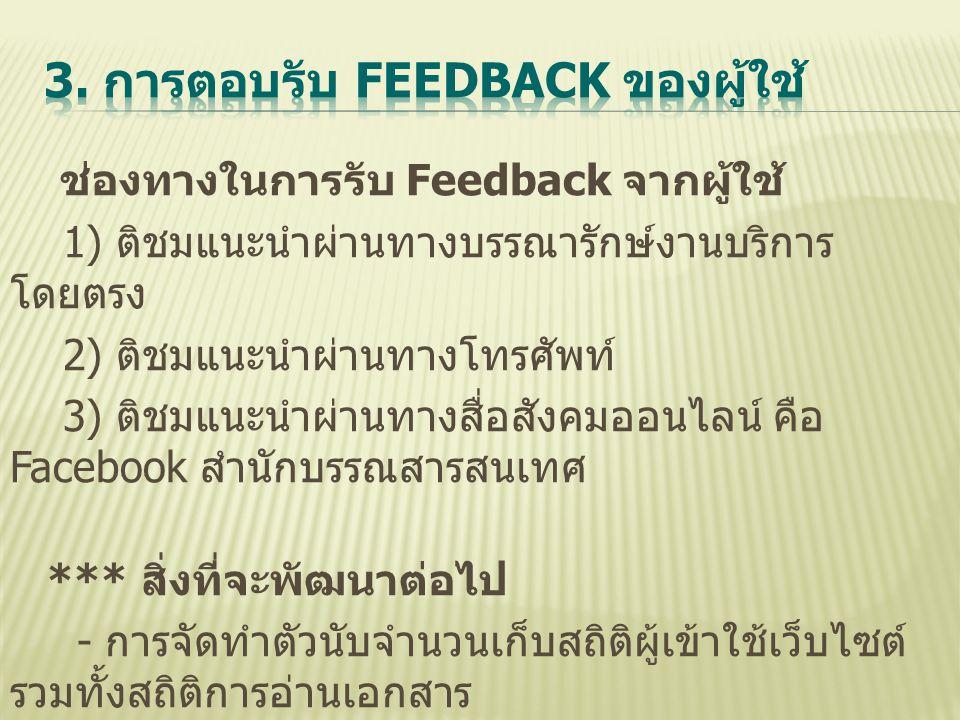3. การตอบรับ Feedback ของผู้ใช้