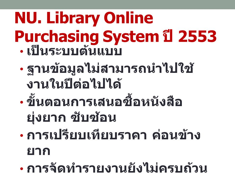 NU. Library Online Purchasing System ปี 2553