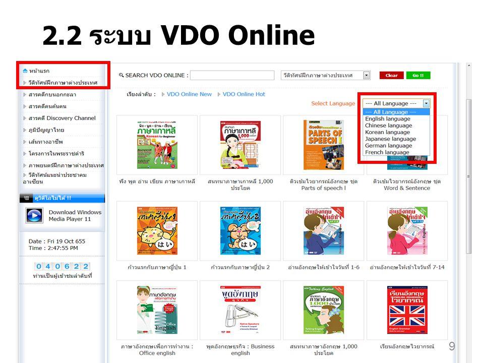 2.2 ระบบ VDO Online