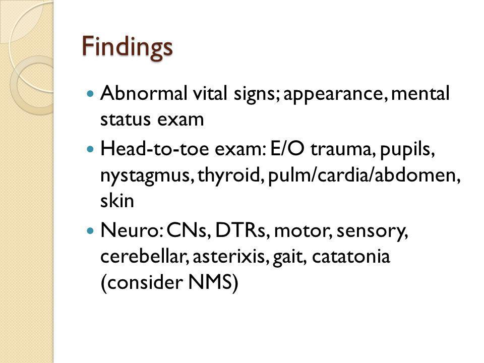 Findings Abnormal vital signs; appearance, mental status exam