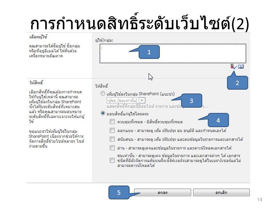 การกำหนดสิทธิ์ระดับเว็บไซต์(2)