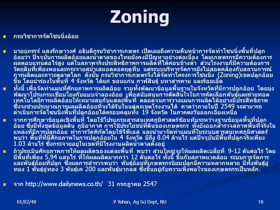 Zoning กรมวิชาการจัดโซนนิ่งอ้อย