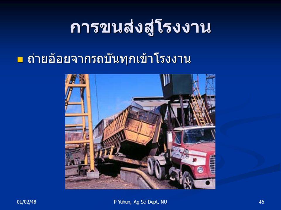 การขนส่งสู่โรงงาน ถ่ายอ้อยจากรถบันทุกเข้าโรงงาน 01/02/48