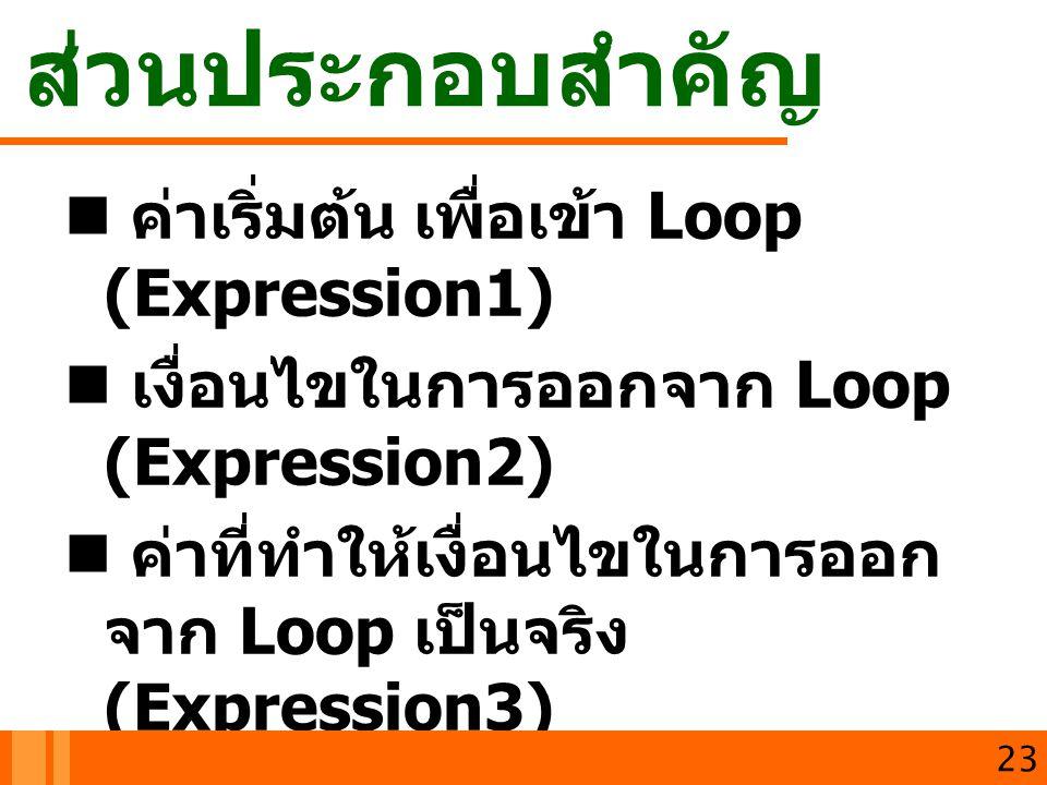 ส่วนประกอบสำคัญ ค่าเริ่มต้น เพื่อเข้า Loop (Expression1)