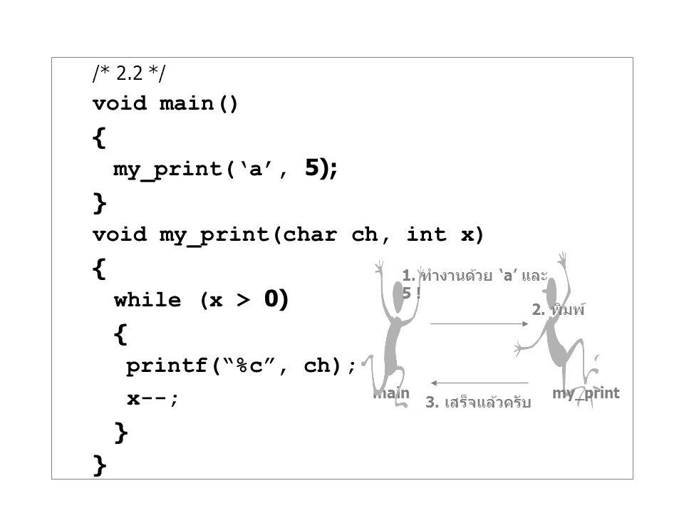 void my_print(char ch, int x) while (x > 0) printf( %c , ch); x--;