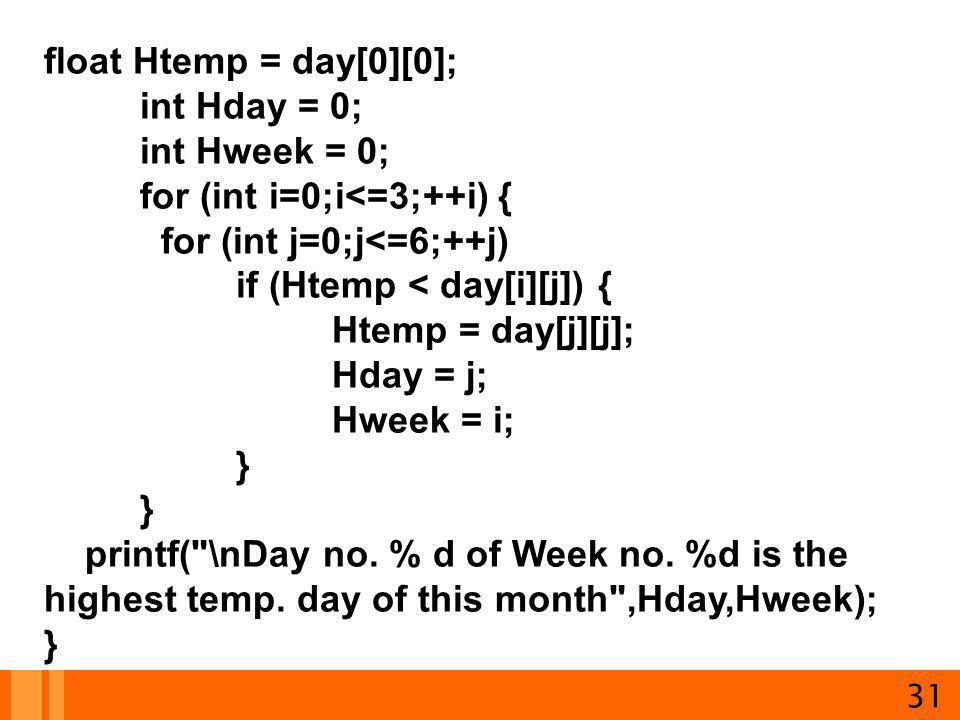 for (int i=0;i<=3;++i) { for (int j=0;j<=6;++j)