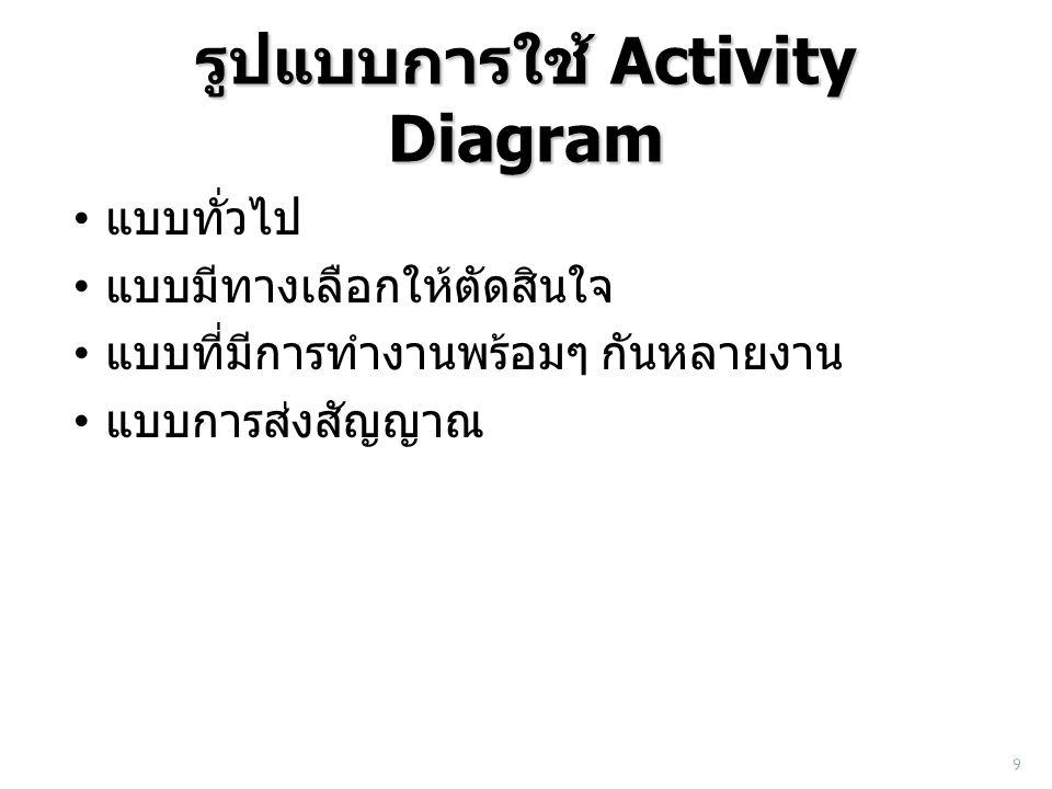 รูปแบบการใช้ Activity Diagram