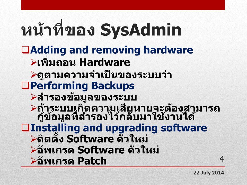 หน้าที่ของ SysAdmin Adding and removing hardware เพิ่มถอน Hardware