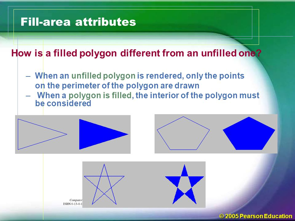 Fill-area attributes How is a filled polygon different from an unfilled one When an unfilled polygon is rendered, only the points.