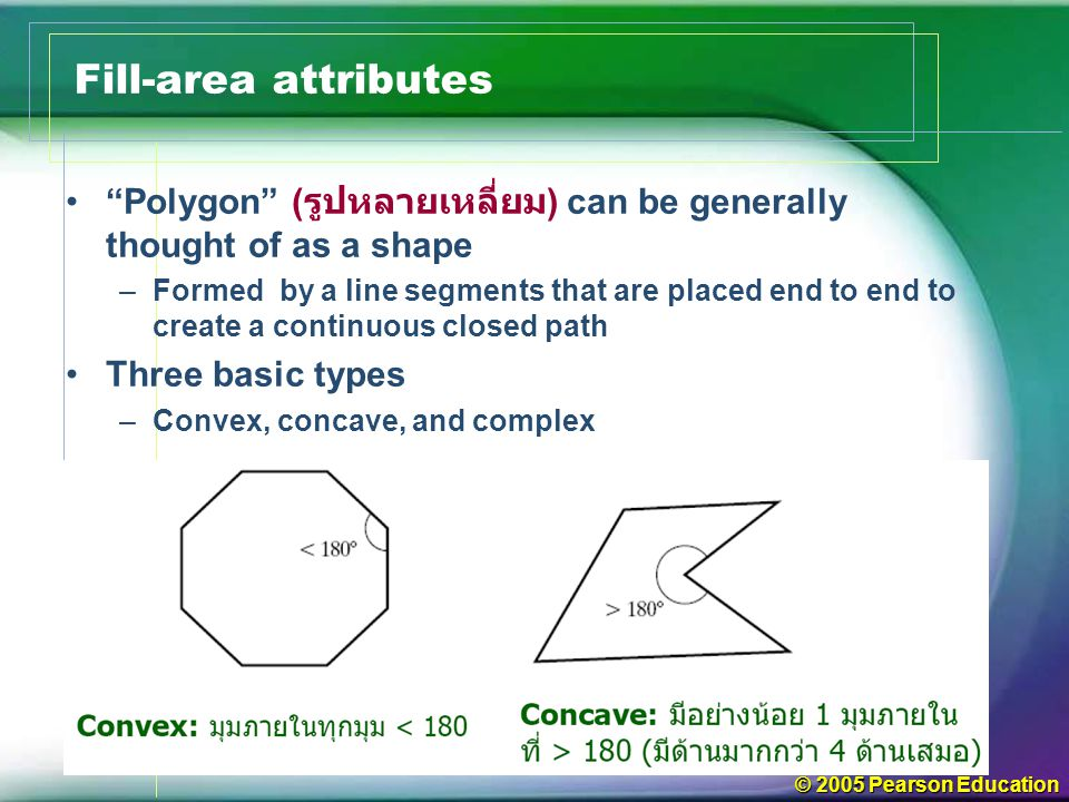 Fill-area attributes Polygon (รูปหลายเหลี่ยม) can be generally thought of as a shape.