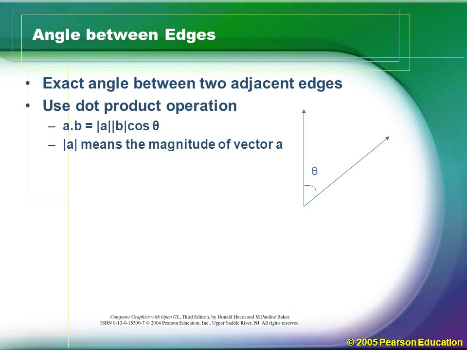 Exact angle between two adjacent edges Use dot product operation