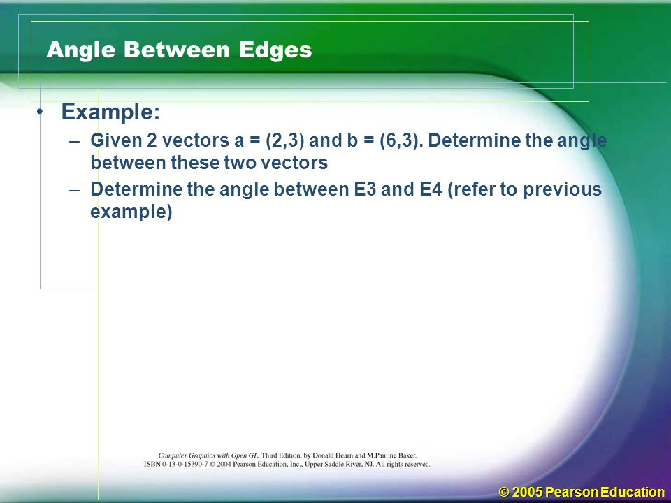 Angle Between Edges Example: