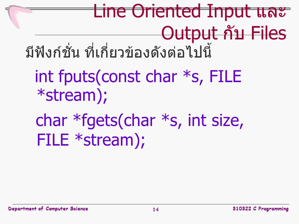 Line Oriented Input และ Output กับ Files