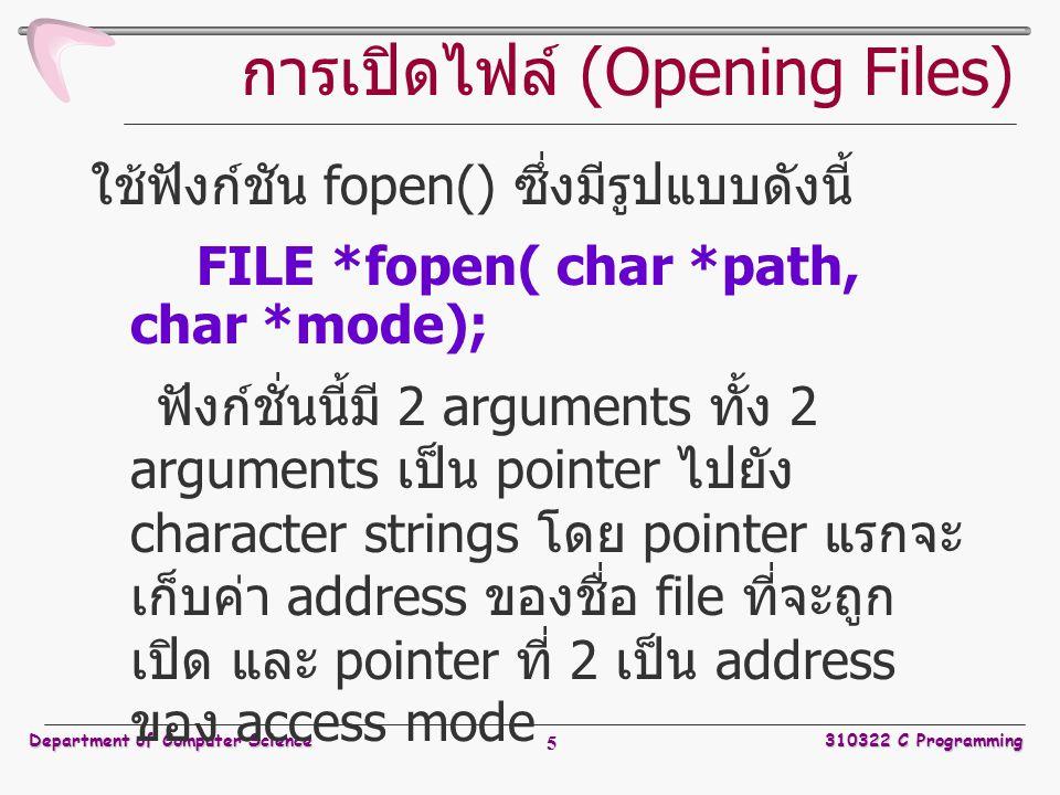 การเปิดไฟล์ (Opening Files)