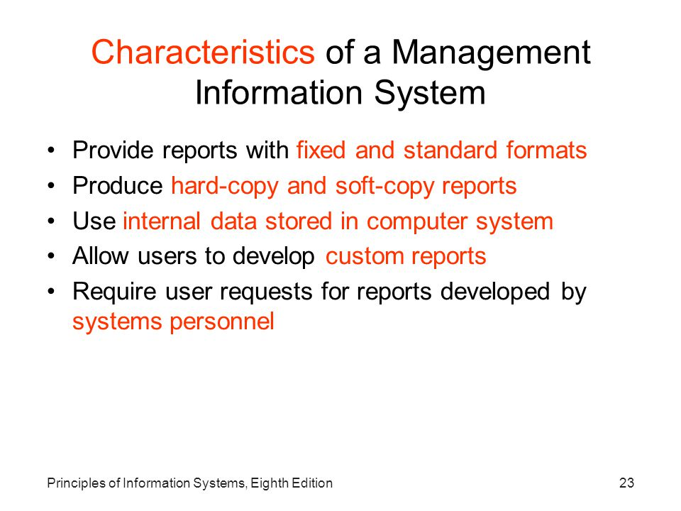 Characteristics of a Management Information System