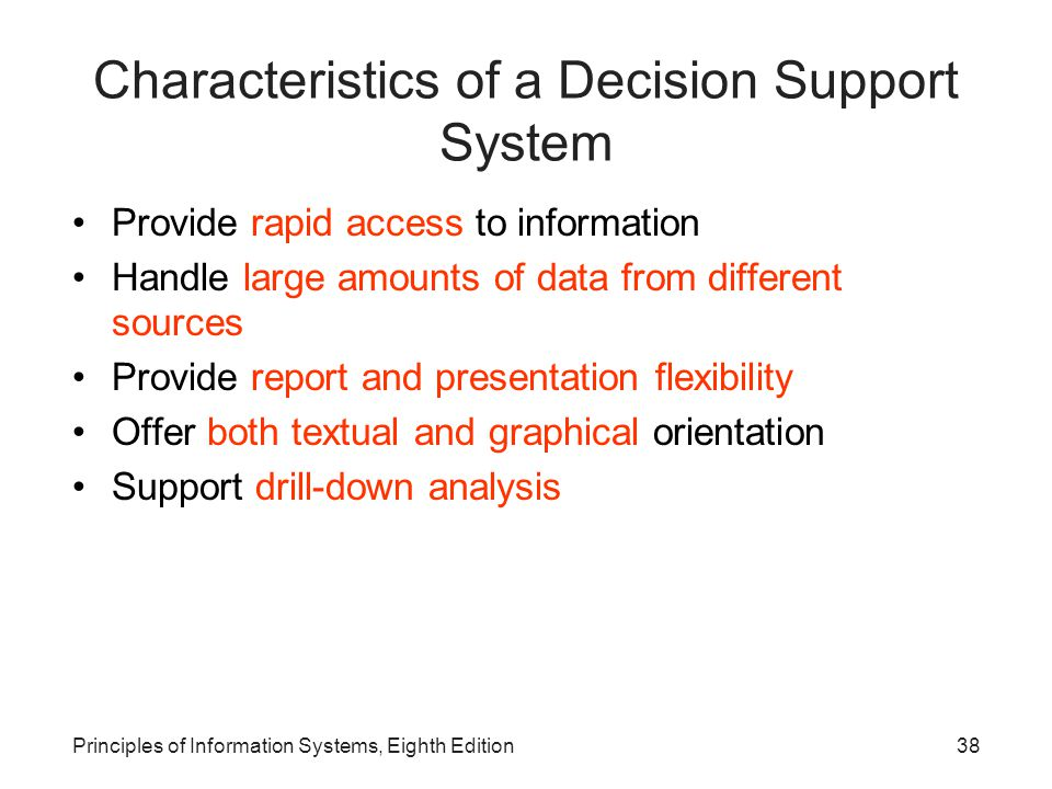 Characteristics of a Decision Support System