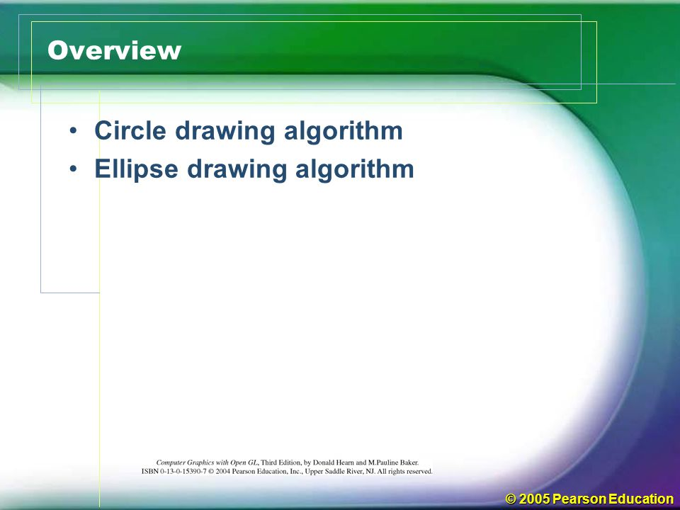 Circle drawing algorithm Ellipse drawing algorithm