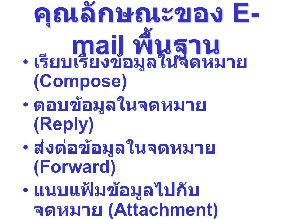 คุณลักษณะของ E-mail พื้นฐาน